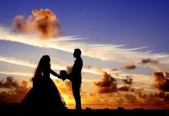 Молодожены, молодая семья, небо, свадьба, закат, романтика, любовь, HD