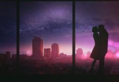 Молодая пара первый поцелуй широкоформатные обои HD