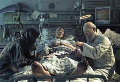 Ангел и Смерть играют в карты на жизнь фентези обои