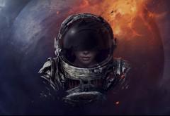 космический пилот, девушка, космос, астронавт, галактика, HD