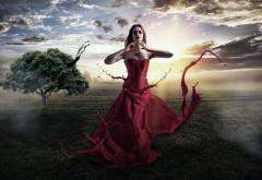 Валентина девушка, краски, фэнтези, небо