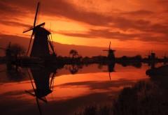 Заход солнца, Киндердейк, Нидерланды, закат, река, мель�…