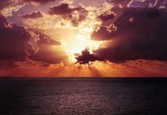 Океан, горизонт, закат, море, побережье