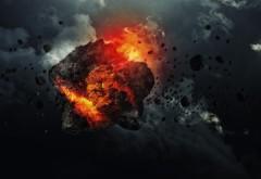 asteroid, астероид, взрыв, космос, огонь