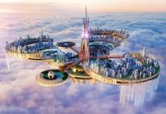 dreamstate, фэнтези город, небо, сказочный город, небоскребы