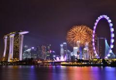 Сингапур, фейерверк, салют, аттракционы, ночной город, �…