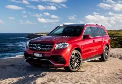 Amg Mercedes Benz Gls Class красный джип на берегу моря обои HD