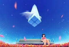 Аниме девушка, одинокая, скамейка, голубое небо, обои hd