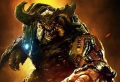 cyberdemon, монстр, рога, клыки, кровь, компьютерная игра, шутер, Doom