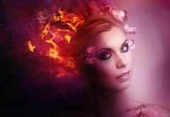 фантазии, огонь, женщина, волосы, макияж, улыбка обои