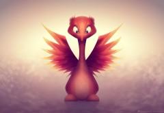 Маленькая птичка, огненная птица, крылья, глаза, милашк…