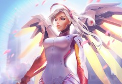 История героев, Overwatch, Ангел, Mercy, крылья, небо, 4K, Ultra HD, 384…
