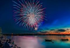 фейерверк, торжества, салют, ночь, море, набережная, пра…