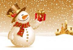 Красивый снеговичок с подарком в руке на золотом фоне