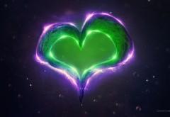 зеленое сердце, пурпурное сердце, фон, пузыри, сияние о�…