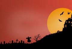 halloween, scary, castle, замок, летучие мыши, ночь, Хэллоуин, Луна обои