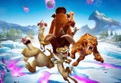 постер, герои, Ледниковый период, мультфильм, Мэнни, Сид, Диего, Элли, Крэш, Эдди, астероид, снег, ленивец
