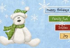 счастливых праздников, весело, радость, настроение, плюшевый мишка, белый, шарф, Новый год, Рождество
