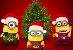 xmas, santa, minions,  Новый Год, миньоны, cute, Christmas, Рождество, Санта, елка