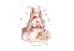 Мику Хацунэ, белый фон, платье, Мику Хацуне, певица, Vocaloi…