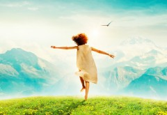 Хайди, фильм, ребенок, природа, горы, зеленая трава, неб�…