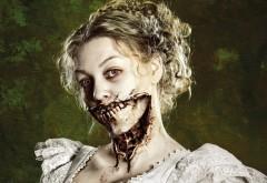 Зомби девушка, зомби-девушка, ужас, челюсть, зомби, девушка обои