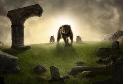 король, медведь, медвежата, горы, статуи, вечер широкоф�…