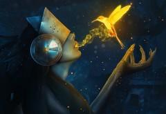 птица, жизнь, девушка, ведьма, дева, рука, HD обои, огонь
