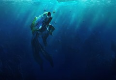 дикий монстр, золотая рыбка, подводный мир, фэнтези, рыба, обои