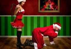Новый год, рождество, праздник, Санта Клаус, плётка, дев…