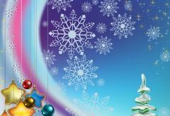 Новый год, фон, снежинки, украшения, игрушки, звёзды, ша�…