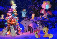 Рейнбоу Деш, пони-пегас, воздушный шар, рождество, ново�…