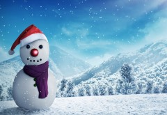 снеговик, деревья, зима, снег, горы, рендеринг, лес, пейз…