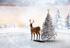 лес, звезда, шары, новый год, олень, поляна, снежинки, ре�…