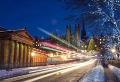 стоковые фотографии, снег, город, праздник, иллюминаци�…