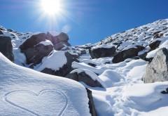 сердце, снег, любовь, Новая Зеландия, горы, солнце