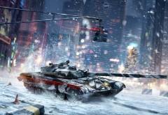 Armored Warfare, Проекта Армата, танчики, зима, снег, город