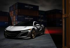 2017 Acura NSX HRE белого цвета на фоне контейнеров ночью 4k обо…