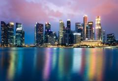 Сингапур, ночь, горизонт, город, небоскребы, закат, огни…