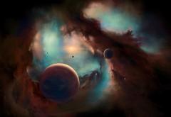 3840x2160, 4K обои, космос, арт картинки, туманности, планеты,…