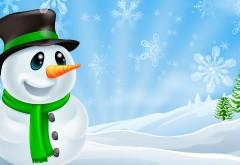 Яркий зеленый снеговик