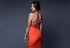 Вид сзади Нина Добрев в платье обои HD