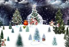 Рождественская елка с Дедом Морозом и снеговиком