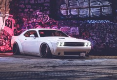Dodge Challenger белый автомобиль обои HD