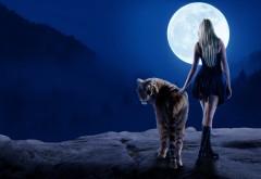 Красивая девушка с тигром под луной картинки 4K