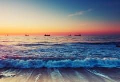 beautiful beach, красивый пляж, волны, море, закат, картинки