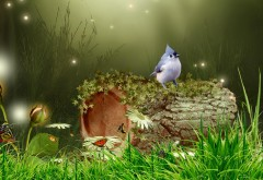 Заставка Фентези природы с птичкой на пеньке