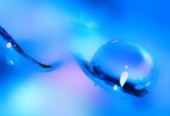 Макро картинки голубые капли 4K обои