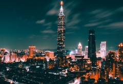 Город Тайпей ночной обои скачать