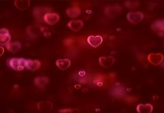 Любовь, сердца, красный фон, обои 4K, 3840x2160